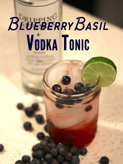 blueberry basil vodka tonic cocktail recipe