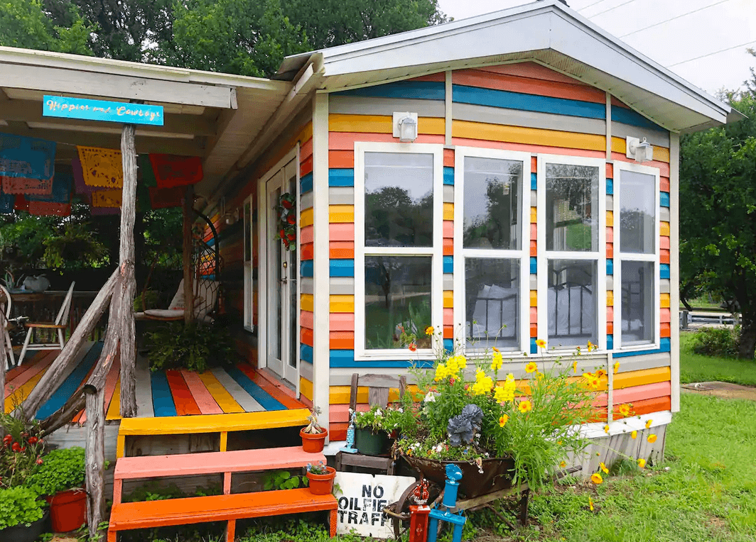 rainbow colored tiny home